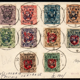 1920 Lituania Centrale (Occup. Polacca): francobolli di Lituania del 1919 soprastampati  (N°1/10)