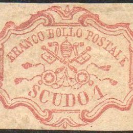1852 Pontificio 1s. rosa carminio (N°11)