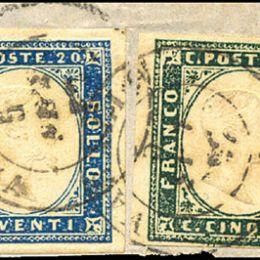 1857 Sardegna 5c. verde mirto + 20c. celeste vivace (N°13A+15h)