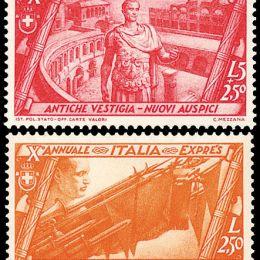 1932 Italia Regno: Decennale Marcia su Roma (N°325/40+A+Ex.) s. cpl.