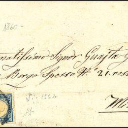 1860 Sardegna 20c. cobalto grigiastro (N°15Cb)