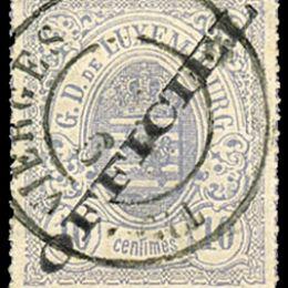 """1875 Lussemburgo: Servizi - stemma 10c. grigio lilla con soprastampa """"OFFICIEL"""" del tipo """"A"""" (N°3A)."""