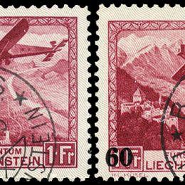 1930/35 Liechtenstein: Posta Aerea -  aeroplano in volo (N°1/6) + soprastampato (N°14) s. cpl.