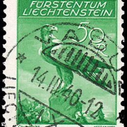 1934/35 Liechtenstein: Posta Aerea -  aquila reale carta goffrata (N°9B/13B) s. cpl.