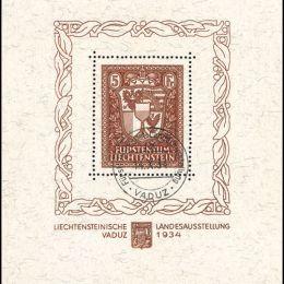 1934 Liechtenstein: Foglietti - esposizione filatelica di Vaduz (BF1)