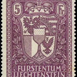 1935 Liechtenstein: stemma 5f. lilla (N°128).
